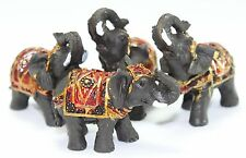 Set of 4 Feng Shui Black Thai Elephant Statues Lucky Figurine Gift  & Home Decor