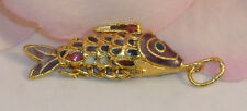 Vintage Cloisonne Enamel Articulated Fish Pendant Purple & Gold Tone Koi lot #5