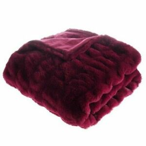 Faux Fur Throw Blanket - Soft Blanket for Bed Couch and Living Room Suitable