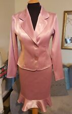 Super Cute 90s Vintage Pink Satin Skirt Suit Size 8-10 Pin Up Rockabilly Wiggle