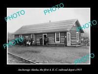 OLD LARGE HISTORIC PHOTO OF ANCHORAGE ALASKA, 1st A.E.C RAILROAD DEPOT c1915