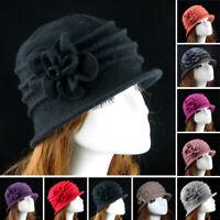 Women Elegant Bow-Knot Wool Flower Felt Hats Winter Vintage Cloche Bucket Cap