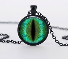 Green Dragon Cat Eyes Crystal Glass Pendant Necklace Jewelry Gift Bag - Black