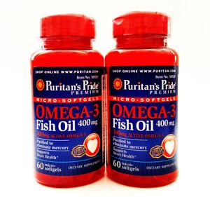 Puritan's Pride Omega-3 120 Softgel Premium Concentrated Fish Oil - 400 Mg