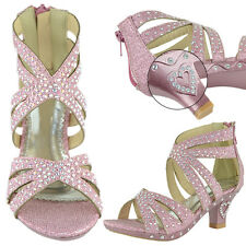 Girls High Heel Pageant Dress Sandals Rhinestone Studs Back Zipper * RUN SMALL *