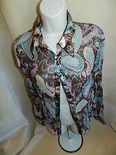NO BOUNDARIES JUNIORS 11-13 Sheer Brown Lavender Paisley Button Front Blouse Top