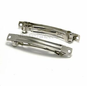 Silver Nickel 3 inch Plain Barrette Hair Clip Finding w/2 Holes For Embellishing
