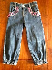 EUC Gymboree Blue Jeans with Fuchsia Ribbon Detail & Gathered Ankles Sz 3