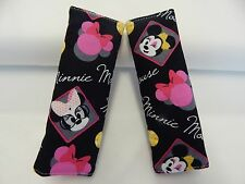 Baby Seat Belt Strap Covers Capsule Highchair Stroller - Minnie Mouse Black Pink