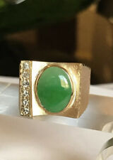 Large And Heavy Natural Green Jade VS Diamonds 18k Yellow Gold Men's Ring SZ 10
