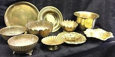 Vtg 10pc Brass Bowls Trays Lot Pierced Etched Pedestal Footed Catering Wedding