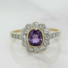 9ct Yellow Gold Amethyst and Diamond Art Deco Style Cluster Ring (Size L 1/2)