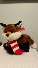 Aurora Festivity Fox Plush Toy Stuffed Animal Brown Black Scarf Holiday.With tag