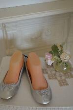 - BNWT Cute Silver Flat Bally Pumps Wedding Bridesmaids Shoes UK 6 39  New  -