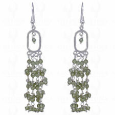 PERIDOT ROUND CABOCHON BEAD EARRINGS MADE IN .925 STERLING SILVER ES1258