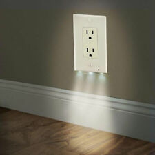 LED Plug Cover 2 in 1 Light Sensor TV Wall Outlet Coverplate Safty Best Night R