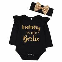 """Neugeborenes Baby Maedchen Kleidung Floral """"Mama ist meine Bestie"""" Body Str M2V8"""