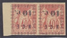 New Caledonia 11a Mint OG 1892 10c on 40 IMPERF Pair W/Inverted Surcharge $75.00