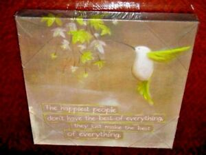 The Happiest People Framed Canvas Print Humming Bird & Flowers Ready to Hang