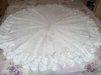 hand crotchet Shawl for baby or reborn. Romany gift/Christening Gift.