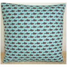 "16"" Sharks Cushion Cover Cute Shark on Aqua Blue Jaws Ocean Marine Life"