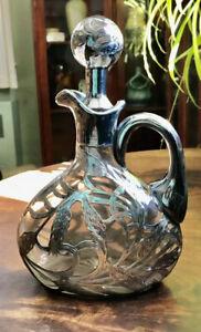 Silver Overlay Decanter, Jug, Bottle, Art Nouveau Antique