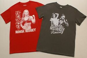 LOT OF 2 Rowdy Ronda Rousey UFC Belt Fighter, men's size small T-shirt