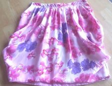 Coast Weber and Ahaus Pink Flower Floral Puffy Bubble Midi Silk Skirt - Size XS