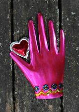 Love Token Pink Heart in Hand, Tin Milagros Mexican Folk Art Hand Made & Painted