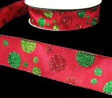 5 Yds Christmas Red Green Glitter Floating Polkadot Polka Dot Wired Ribbon 1 1/2