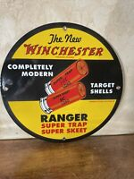 33 VINTAGE ''WINCHESTER'' 12 INCH PORCELAIN DEALER SIGN, THE NEW WICHESTER