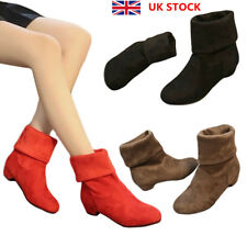 Women Winter Mid Calf Pull On Ankle Suede Boots Ladies Low Heel Comfy Shoes Size