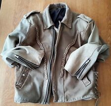 Vintage Biker Retro Motorcycle Cafe Racer Distressed Leather Jacket Antique L