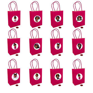 """Black Boss Baby Girl Mini Bags, Hot Pink  + 2.5"""" Assorted stickers 4.5"""" x 6"""" -12"""