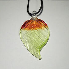 "Handmade Cristallo Fiesta Pendant Leaf Green/Brown on a black string 18"" Long"