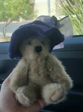 """7"""" The Boyds Collection Jointed Bear 1988-2000 w Purple Hat Pre-owned Cute"""