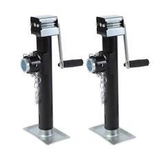 Adjustable 2X 1000Kg Trailer Jack Lift Pipe Mount Side Wind Drop Leg Square Jack