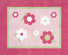 Girl Baby Kid Floor Rug for Sweet Jojo Designs Pink and Green Flower Bedding Set