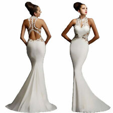 White Womens Wedding Bridesmaid Long Evening Party Prom Gown Cocktail Dress S