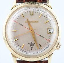 Vintage Men's 14k Yellow Gold Bulova Accutron Watch Movement 218 w/ Leather Band
