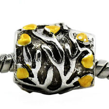 Tree Of Life European Bead w Silver Branches, Gold Hearts For Charm Bracelets
