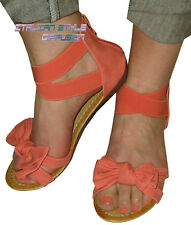 WOMEN'S SHOES SANDALS ORANGE PINK CORAL WEDGE BOW 38 39 40 41