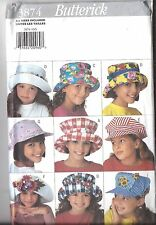 UNCUT Vintage Butterick Sewing Pattern Girls Hats Cap 4 - 14 3874 Nine Styles FF