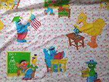 Vintage Sesame Street Twin Flat Sheet Big Bird Bert Ernie Cookie Monster Fabric