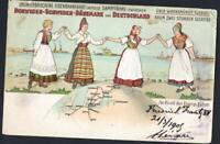 ALLEMAGNE OLD POSTCARD SHIPPING COMPANY NORWAY SCHWEDEN DANEMARK DEUTSCHLAND