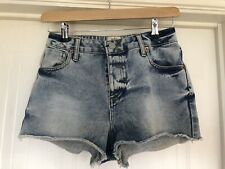 ❤️ RIVER ISLAND Size 10 Washed Blue Denim High Waisted Shorts VGC