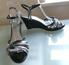 M&S Ladies Sandals 6.5 Black Wedge High Heels Summer Shoes Holiday Evening