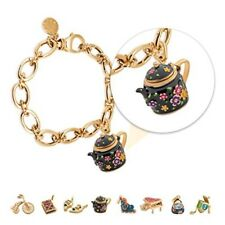 Gold Plated Charms Bracelet with Black Teapot Charms for Women, Teens and Girls