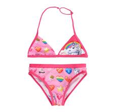 niña Oficial Licencia Rosa emoticono unicornio Traje de baño bikini 5-12 años