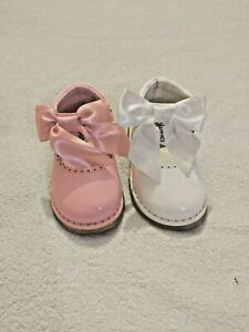 spanish style bow hard sole baby toddler girls party wedding patent shoes